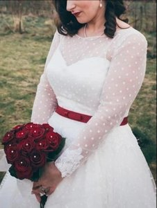 Vintage 50s inspired Country Style Rockabilly Tea Length Bridal Gowns Plus Size wedding dress with Long Sleeves