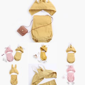 y clothes kids  Summer Sleeveless Solid Colors backless Romper With Rabbit Hat Clothes 100% cotton girl kid rompers 0-2T DK9R