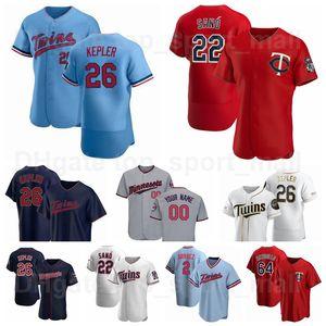Baseball 26 Max Kepler Jersey 22 Miguel Sano 25 Byron Buxton 2 Luis Arraez 64 Willians Astudillo Marinho Branco Branco Vermelho Equipe