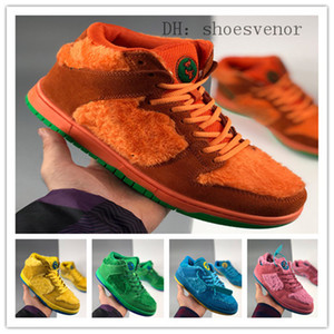 SB Dunk Pro QS High Low Cut Tres Bear Pack Woman Man SB Sneakers Cuero Chunky Furry Furry Woolly Skateboard Blue Green Pink Amarillo Calzado deportivo