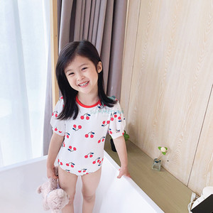 Kids cherry swimsuits 2021 summer girls backless short sleeve siamese swimming korean style children SPA beachwear A5990