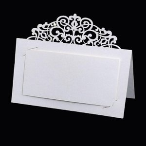 50 / 100pcs 빈티지 꽃 레이저 잘라 테이블 이름 장소 카드 레이스 이름 메시지 설정 카드 결혼 생일 파티 호의 장식