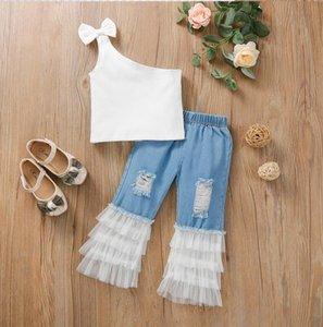 White Bow Tank Top Cascading Mesh Hole Jeans Fashion Clothing Sets Girls Skinny One Shoulder Skew Neck Long 2 Piece Set Kids