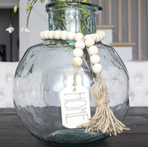 Wood Bead Garland With Tassels DIY Tag Farmhouse Home Beads Neutral Farmhouse Decor Vintage Home Decor GWB5149
