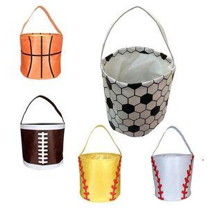 New Easter Handbag Basketball Easter Basket Sport Canvas Totes Football Baseball Soccer Softball Buckets Storage Bag Candy Handbag OWA3841