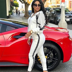 Womens Panelled Hooded Tracksuits Spring Autumn Casual Female Letter Printed Sports Set Fashion Ladies 2Pcs Outfit Clothes