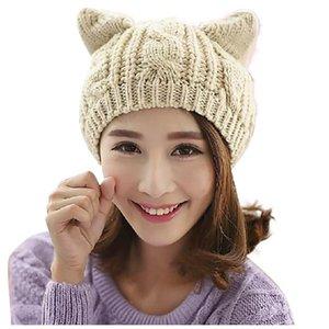Wide Brim Hats Cat Ears Women Hat Solid Knitted Winter Wool Beanies Caps Crochet Trendy Bonnet Cute Women's Cap Gorros Mujer Invierno