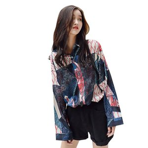 Blouse Women Underwear Cartoon Print Lapel Shirt Loose Womens Single-breasted Long Sleeve Blouse Ropa Verano Mujer*