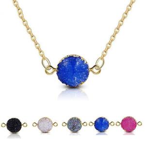 5 Colors New Design Resin Stone Druzy Necklaces Gold Plated Geometry Stone Pendant Necklace For Elegant Women Girls Fashion Jewelry
