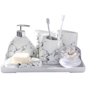 Scandinavian Home Bathroom Wash Set Ceramic Bathroom Decoración Accesorios Tenedor de cepillo de dientes Dispensador de jabón Suministros