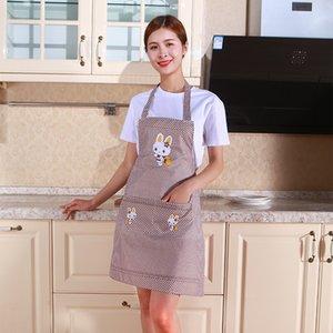 Женщины мультфильм кролик варить кухонный фартук нагрудник карманные фартуки хлопок ресторан фартук