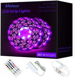 65.6ft 20m RGB LED Strip Lights Ultra-Long Color Changing Light Strip with Remote 600LEDs Bright LED Lights DIY Color Options Tape Lights