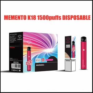 Оригинальный Memento K18 Одноразовый Устройство Устройство 1500 Загониевания Перезаряжаемые 850 мАч Бухгалтерская Аккумуляторная Батарея 4.8 мл POD Vape Stick Pen 100% Аутентичные