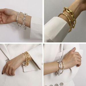 2Pcs Punk Metal Bamboo Bracelet Coin Disc Charm Chunky Link Chain Bracelet Bangles Kit Women Fashion Jewelry Party Decoration