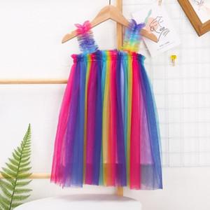 Girls Tulle Suspender Skirts Tutu Summer Princess Dresses Kids Designer Clothes Ins Ball Gown A-line Dress Dance Party Elegant Dress HWC6143