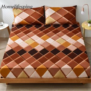 Sheets & Sets Bedsheets Geometric Printed Fitted Sheet With Elastic Cotton Blend Mattress Cover Single Queen King Line Quilt