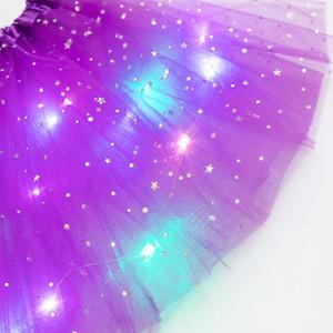 Filles conduit lumière tutu briller jupe de mariée couronne couronne couronne de ballet minikipir de fête néon led vêtements kid joliment fête cadeau gwf5213