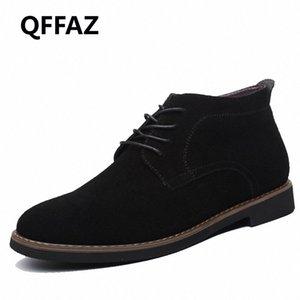 QFFAZ Marca masculina de gamuza de cuero zapatos para hombres botas de hombre sólido casual cuero otoño invierno tobillo botines más tamaño 38 45 botas no 7 bootie fr j43k #
