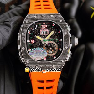 43mm RM62-01 Watches Tourbillon Vibrating Alarm ACJ Skeleton Miyota Automatic Mens Watch Carbon Fiber Case Orange Rubber HWRM Hello_Watch
