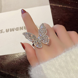 Hollow Three-dimensional Butterfly Pink Diamond Female Index Finger Temperament Versatile Ring Personality Design Fashion Jewelry
