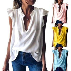 Women Fashion Solid Color V Neck Short Ruffled Sleeve Loose T-shirt Blouse Top great gifts
