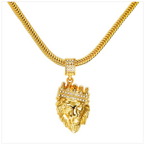 Hot Mens Hip Hop Jewelry Iced Out 18K Gold Plated Fashion Bling Bling Lion Head Pendant Men Necklace Gold Filled For Gift Present