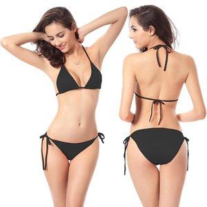 2 adet Seksi Kadınlar Yaz Mayo Bikini Seti Sutyen Kravat Yan G-string Thong Plaj Üçgen Suit Mayo Mayo Yüzme