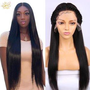 الرباط الباروكات 13x6 HD شفافة مستقيم الشعر البشري شعر الإنسان ريمي البرازيلي أمامي لمة للنساء السود قبل التقطه 150 الكثافة