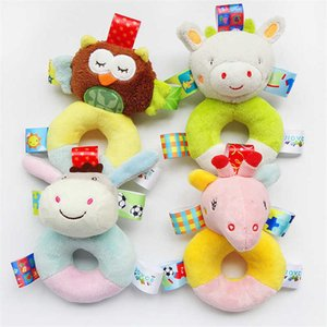 Plush Wrist Rattle Baby Hand Soft Bed Bell 0-24 Months Baby cognitive Enlightenment plush Toy tag animal Rattle Chid toys