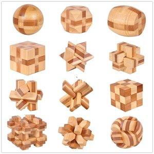 Ahşap Zincir Kilit 12 Stil IQ Beyin Teaser Kong Ming Kilit 3D Ahşap Kilitleme Çarpıcı Bulmacalar Oyun Oyuncak Bambu Küçük Boyutu Çocuk Oyuncakları DWF5605