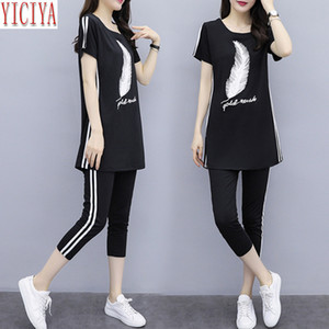 YICIYA Tracksuits for Women Outfit Sportswear Co-ord Set 2 Piece Pants Suits and Top Plus Size 3XL 4XL 5XL Summer Black Clothes 210302