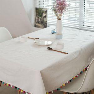 Tablecloth Tablecloth Branco Decoração de Manta Artesanato Cor Bola De Cabelo Borla Partido Casamento Casa De Cozinha Tabela De Mesa