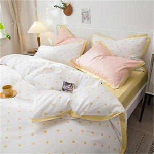 Bedding Sets Luxury Princess Style Cotton Set Ruffles Heart Shape Duvet Cover Bed Sheet Linen Pillowcases 4pcs For Girls