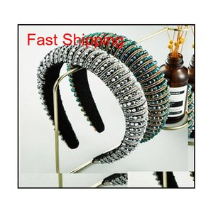 Full Crystal Hair Bands For Women Lady Luxury Shiny Padded Diamond Headband Hair Hoop Fashion Hair jlljeH bdedome