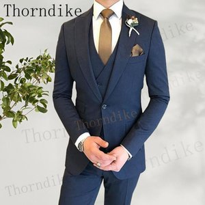 Thorndike Newest Fashion Navy Blue Costume Homme Business Mens Suits Wedding Suits For Men Ternos Masculinos Slim Fit Tuxedos