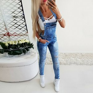 New Fashion Ladies Ripped Jeans Jumpsuits Lmitation Old Jeans Bib Overalls Ladies Suspenders Denim Trousers S-3XL