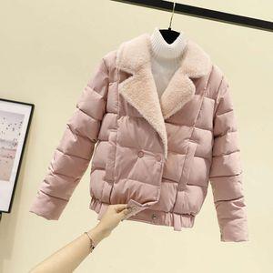 Down women's short 2020 winter new Korean version small lamb wool collar cotton padded loose bread jacket
