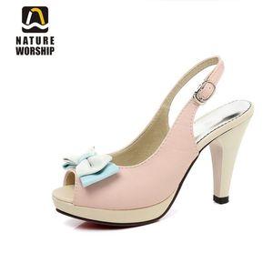 Nature Worship New Fashion High Tacchi alti Donne Pompe Butterfly-nodo Sweet Shoes Platform Peep Toe Slingback Slingback Pompe da donna Big Size45