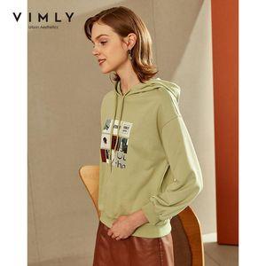 Vimly Hoodies Moda de moda con capucha impresa Sudaderas sueltas 2021 Ropa de otoño Casual Sudadera femenina F2783