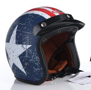 BLD Vintage Classic Open Helmet Motorcycle Open Face Helmet  4 DOT Certified Cruise Casco Casque Moto for Men
