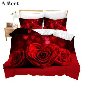 Pink Red Rose Bedding Set Queen 3D Gold Double Single Duvet Cover Bed Set Bed In A Bag Flowers Comforter Ensemble De Literie C0225