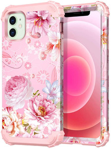 For Apple iPhone 12 Mini 5.4 2020 Pink Floral Case Flower Design Heavy Duty Shockproof Full-Body Protective Case