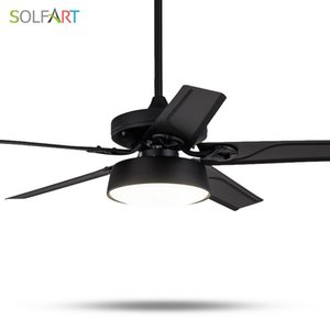 SOLFART ceiling fans lamp modern fan light mute natural wind ce ul led lamps wood or iron black white Metal suspender SLF9008