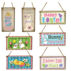 Wooden Easter bunny pendant Commemorative cartoon pendant Cute animal cartoon wooden hangings sign Easter party decorations YHM926