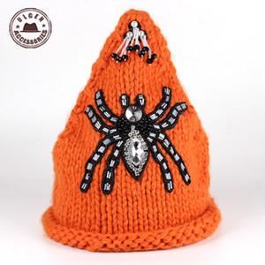 Balaclava Gorro Ulgen Cappello da maglia originale per la moda inverno handmade ragno ragno all'uncinetto Bellissimo cappelli di beanie perline caldi HUL2