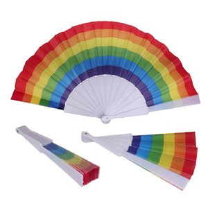 Fashion Rainbow Fan Plastic Printing Folding Rainbow Fan Home Decoration Craft Stage Performance Dance Fan 43*23CM GWA3958