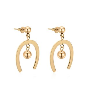 Varole Korean Simple Style Gold Stainless Steel Earrings For Women New hoops ball earrings jewelry wholesale