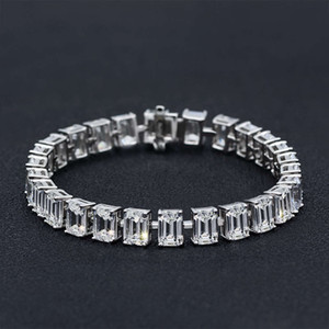 HBP fashion luxury Jewelry New full circle rectangular emerald cut 5 * 7 high carbon diamond S925 Sterling Silver Bracelet 15 ~ 16cm