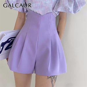 Galcaur Shorts Shorts Tunic Cintura Alta Irregular Tamaño grande Pantalón roto Ropa femenina Moda casual Marea de verano 210304
