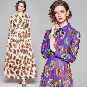 New Dropshipping Spring Summer Fall Runway Vintage Floral Print Collar Long Sleeve Empire Waist Women Ladies Casual Party A-Line Maxi Dress